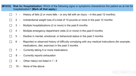 OASIS and PDGM - M1033: Risk for Hospitalization